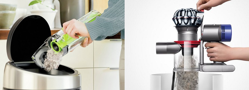 Comparison of the two vacuum's bin emptying systems
